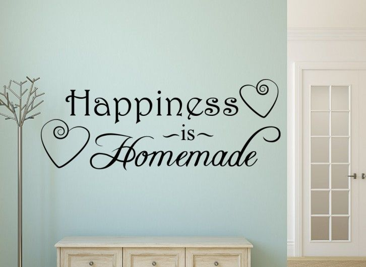 This fantastic wall art sticker features two elegant love heart swirls, reads 'Happiness is Homemade' perfect for any living or dining area or even the kitchen and are great for walls, doors, mirrors or any smooth flat surface.  Our personalised wall stickers are precision cut from high quality matt finished ultra-thin vinyl, they look absolutely stunning and appear as though they are painted onto the surface. They come in large variety of colours and are available in a range of sizes from…