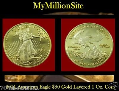 1oz 50 American Eagle 999 24k100 Mills Fine Gold Layered