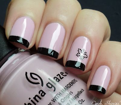 Pink and black funky french tip nail art -- China Glaze Something Sweet with (taped) tips in Konad Black and an Essence sticker as accent