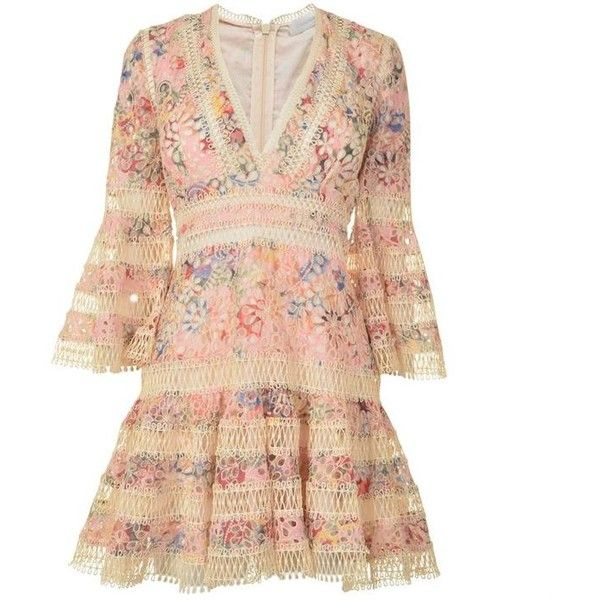 Zimmermann Lace Floral Mini Dress (95420 RSD) ❤ liked on Polyvore featuring dresses, vestidos, pink floral, short floral dresses, mini dress, lace dress, floral dresses and pink bell sleeve dress
