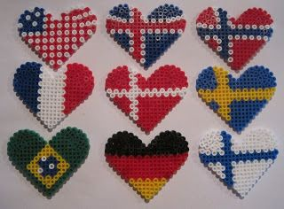Choose from a heart-shaped flag fused bead keychain or magnet ...