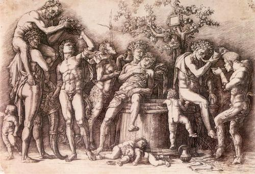 "Andrea Mantegna""  Bacchanal with vat"