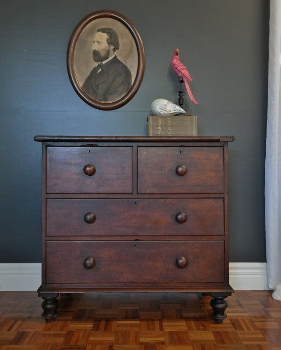 mid 1800s AUSTRALIAN cedar chest of drawers DIVINE PATINA vintage industrial antique on Etsy, $936.30