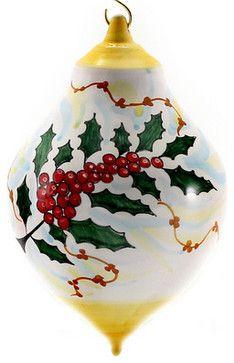 Christmas Ornament: Holly - Ball Drop Large mediterranean-christmas-ornaments