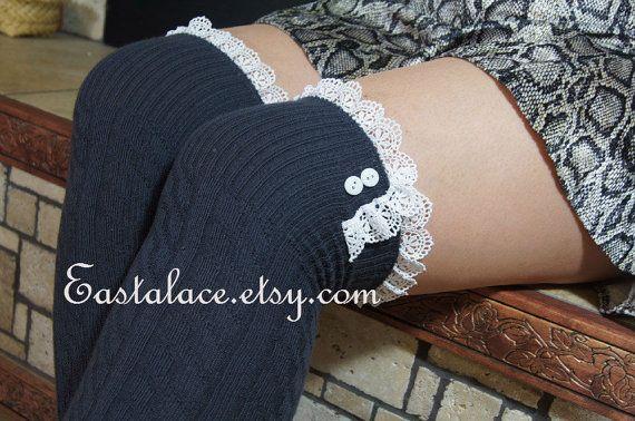 Women Socks Lace Trim Socks Knee High Socks - High Knee Socks Boot Socks Lace and buttons Over The Knee Socks