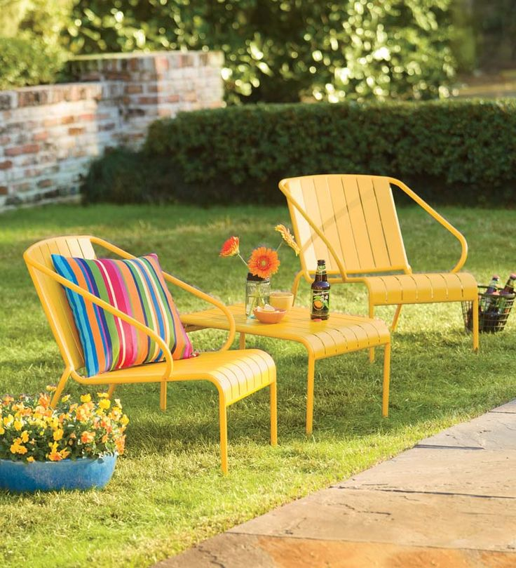 Superior Three Piece Stacking Yellow Patio Furniture Is Bright And Cheerful,  Especially With Fun Striped