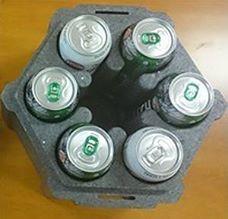 Opakowania styropianowe do transportu wina lub puszek w kolorze szarym w formie sześciopaku. Opakowanie służy do transportu i przechowywania puszek z piwem lub innych napojów.  Posiada siedem wewnętrznych gniazd o wymiarach - średnica 71 mm i wysokość 173 mm - mogących pomieścić sześć puszek z piwem lub innymi napojami plus wkład chłodzący na środku opakowania => https://www.facebook.com/media/set/?set=a.1396335870430943.1073741850.420625448001995&type=3