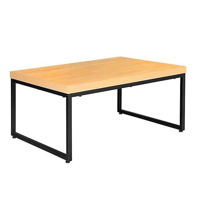 Vanille Table basse effet bois clair et acier