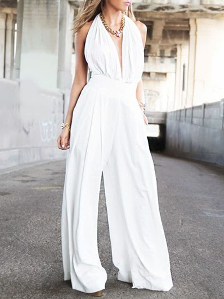 White,Halter,Plunge Neck,Ruched Bust,Backless,Palazzo,Jumpsuit