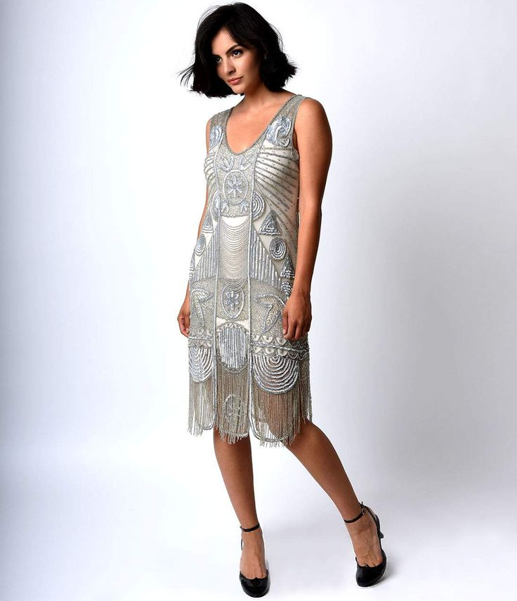 Great Gatsby Dresses for Sale 1920s The Bosley Silver Beaded Flapper with Beaded Fringe Dress $340.00 AT vintagedancer.com