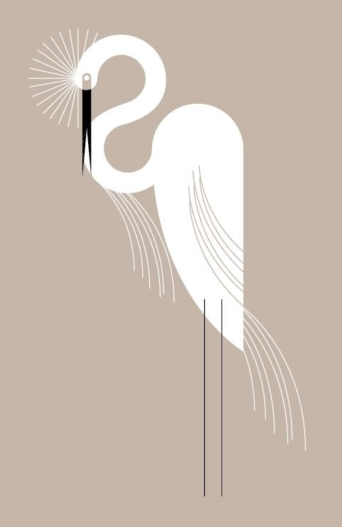 This artist draws from a very geometric type patterns....Charlie Harper illustration Egret