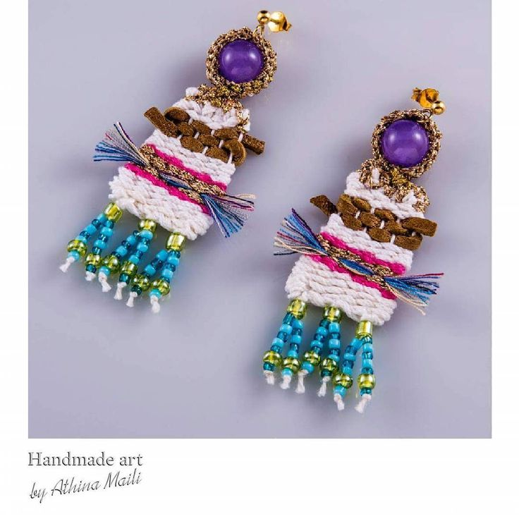 Woven jewelry. Earrings with leather, cotton, gold yarns, precious stones and silver.