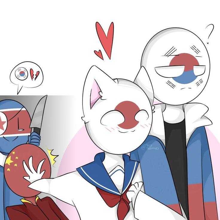 korea x japan love | 캐릭터 일러스트, 한국, 국가