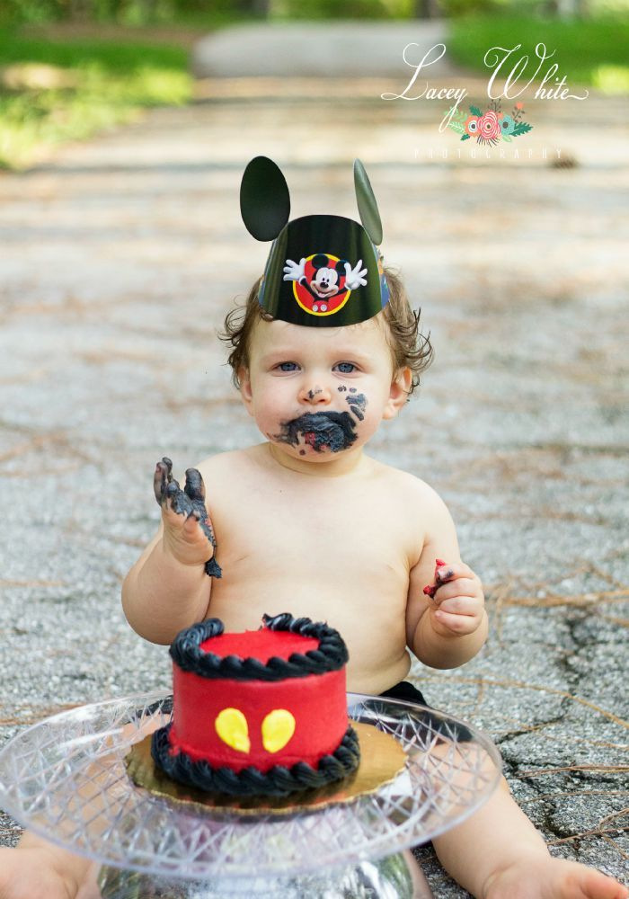Mickey Mouse themed cake smash session.