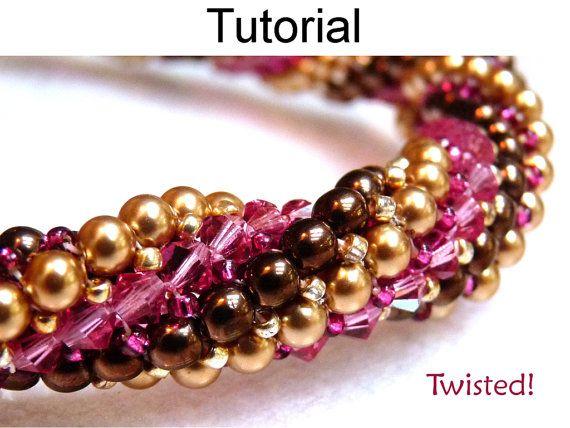 Bracelet Beading Pattern, Herringbone Stitch, Beaded Jewelry Tutorials, Beadweaving Beadwork, Simple Bead Patterns #445