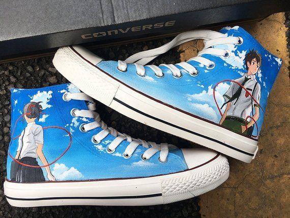 Custom Anime Painted Sneakers Blue Sky Anime Painted Converse Personalized Handpainted Anime Manga In 2020 Painted Sneakers Painted Converse Kawaii Shoes