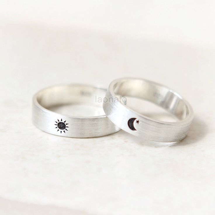 Sun and Moon Ring in sterling silver, Couple Rings--Custom Personalized Initial Ring by laonato on Etsy https://www.etsy.com/listing/193318680/sun-and-moon-ring-in-sterling-silver