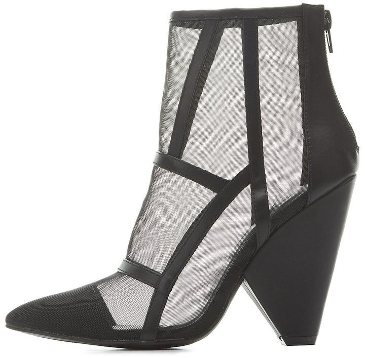 Charlotte Russe Pointed Toe Mesh Booties