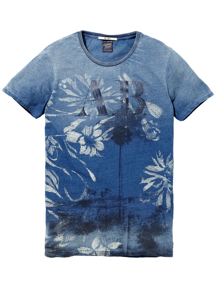 T-shirt indigo avec impressions photo|T-shirt m/c|Habillement Homme Scotch & Soda