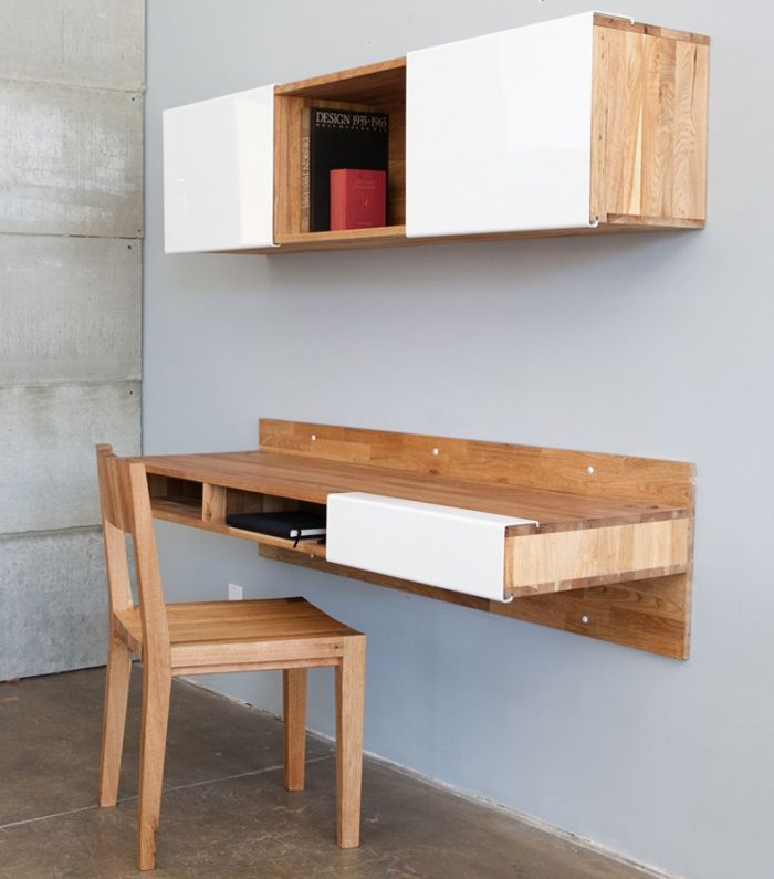 Mash Studios has a handsome and sleek solution for a modern desk and space-saving storage shelf.