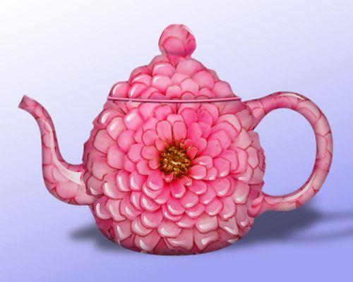 Zinnia Teapot: Pink Flower, Pink Petal, Tea Time, Zinnia Teapot, Teapots Cups, Tea Pots, Teapots Teacups, Teatime