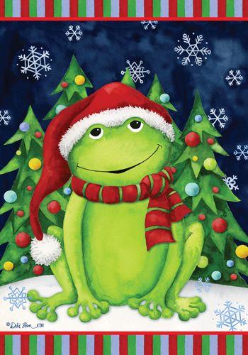 Custom Decor Flag - Christmas Frog Decorative Flag at Garden House Flags at GardenHouseFlags