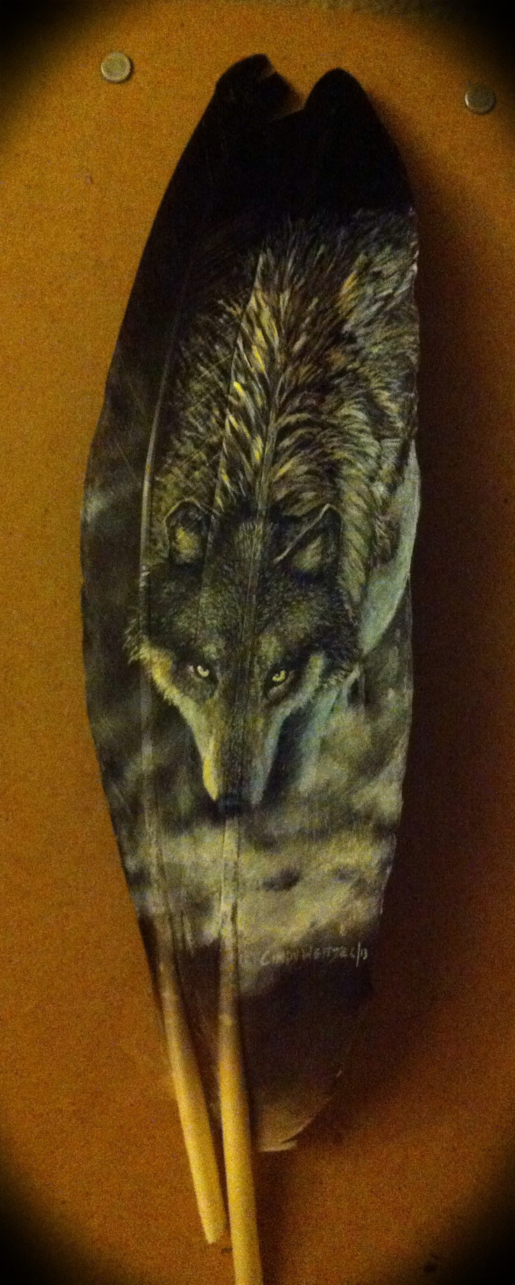 Wolf ~ hand painted feather.
