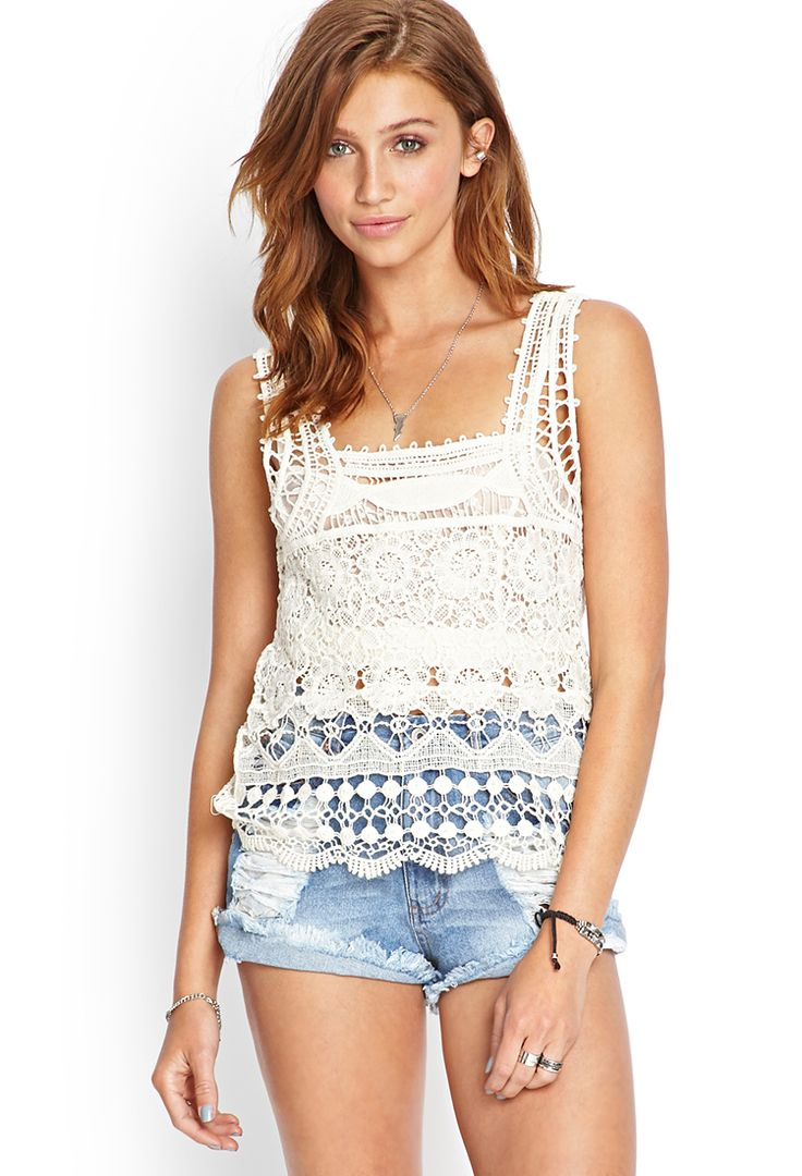 Crocheted Square-Neck Top ~ High Waisted Light Denim Shorts: