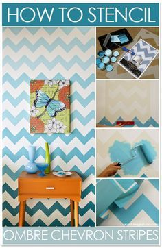 How to paint Chevron stripes with a stencil and stencil roller! This would be cool to do in GC bath on one wall??