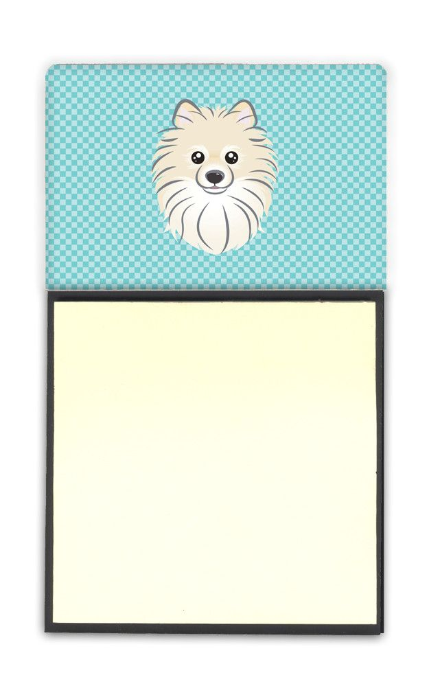 Checkerboard Blue Pomeranian Refiillable Sticky Note Holder or Postit Note Dispenser BB1145SN