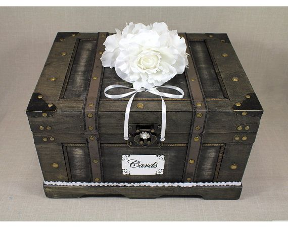 Wooden Wedding Card Box Trunk. Vintage Shabby by DazzlingGRACE, $99.00