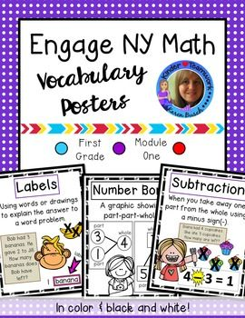 Are you using Engage New York Math curriculum? This might be for you! It includes vocabulary posters for teaching sums and differences to 10 to your First Grade students.Each poster contains the vocabulary word, definition, and examples. The terms align with First Grade Module 1 Engage NY and have been presented in a kid-friendly way.