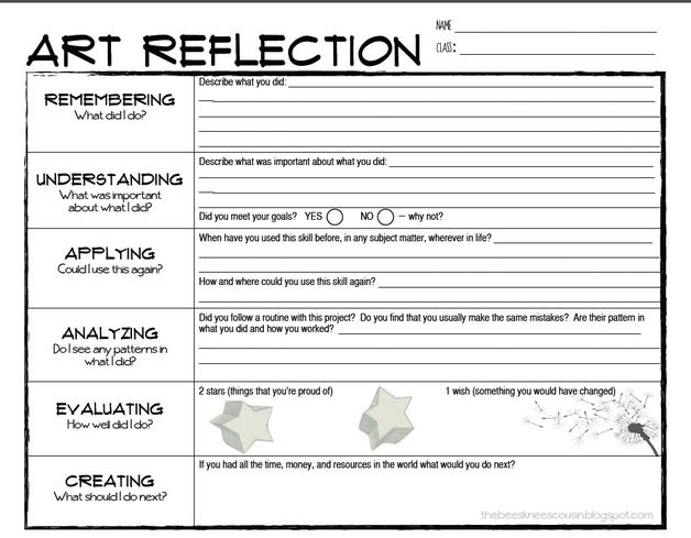 after project is complete reflection Handouts @ artful artsy amy