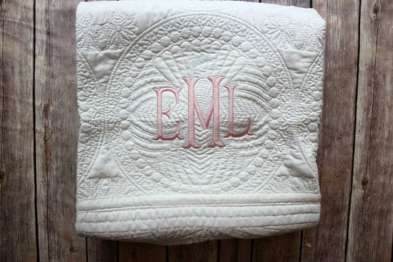Monogrammed Baby Quilt Personalized Baby Blanket