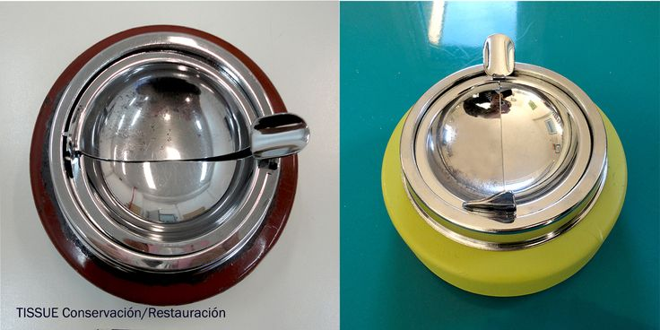 cenicero antiguo (izquierda) transformado en cenicero moderno (derecha) de www.tissuerestauracion.com