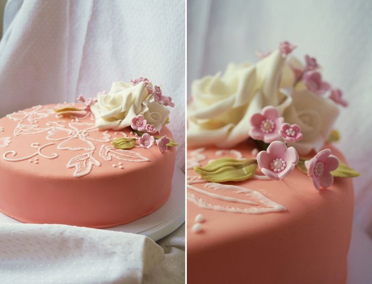 Birthday cake with sugarflowers