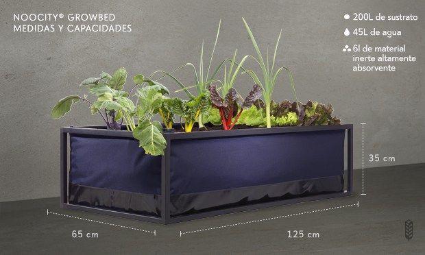 Sistema de huerto urbano eficiente auto-riego y auto-fertilización, esquema.