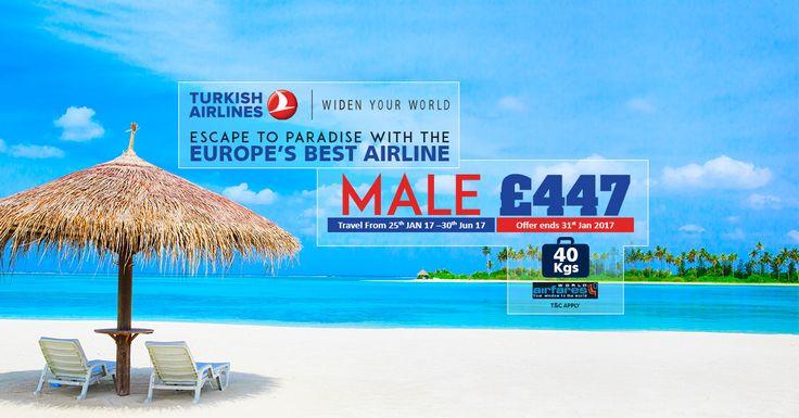Escape to paradise with the Europe's best airline  |    👉 Book Online: https://www.worldairfares.uk/flights/loading?depCity=LON&arrCity=mle&depDate=21%2F02%2F2017&arrDate=10%2F03%2F2017&adult=1&youth=0&child=0&infant=0&AirCode=TK&CabinClass=Y&JType=2&DFlights=false&dateFlex=false&fr=Direct&utm_source=pinterest&utm_campaign=escape-to-paradise&utm_medium=social&utm_term=turkish-airlines  |    #worldairfares #flights #onlineflightbooking #flightbooking #flightoffers #travel #turkishairlines