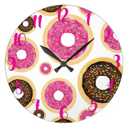 Pink & Brown Sprinkle Donuts Modern Fun Cute Large Clock - home gifts ideas decor special unique custom individual customized individualized