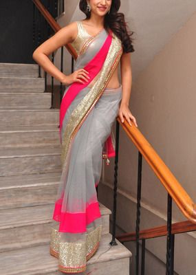 Shraddha das net grey embroidered bollywood style saree