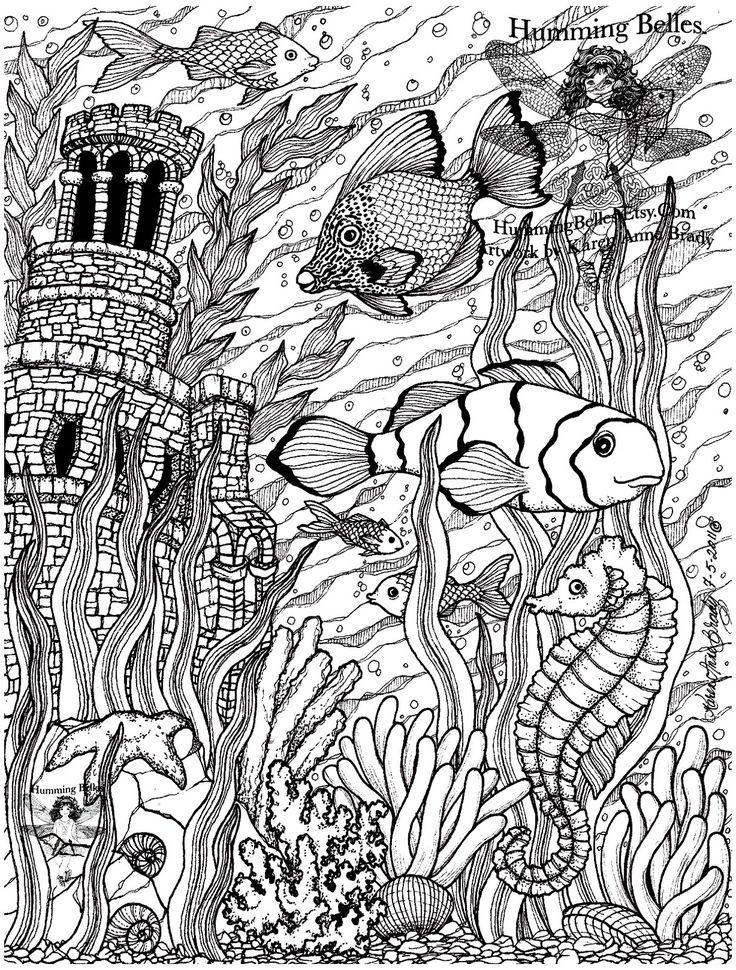 Galerie de coloriages gratuits coloriage-poissons-difficile-5. Un Aquarium rempli de plantes et objets décoratifs, avec de magnifiques poissons. Très réaliste, détaillé, et bien réalisé, à colorier sans plus attendre