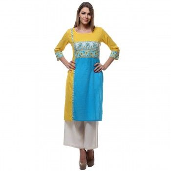 Cotton Yellow & Blue Printed Stitched Kurti With Palazzo - P1521055