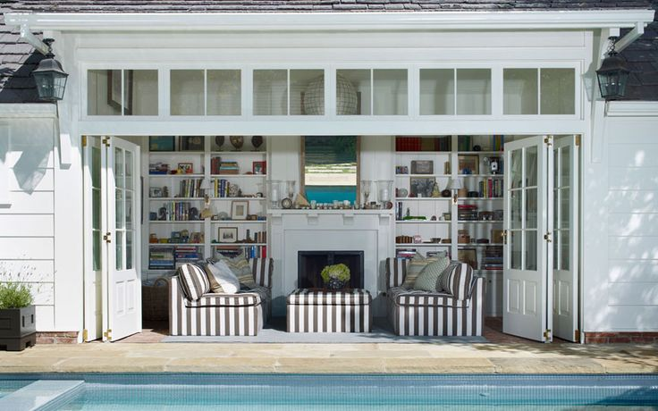 Transom, open living room | Tim Barber Ltd. Architecture - Brentwood New Pool House