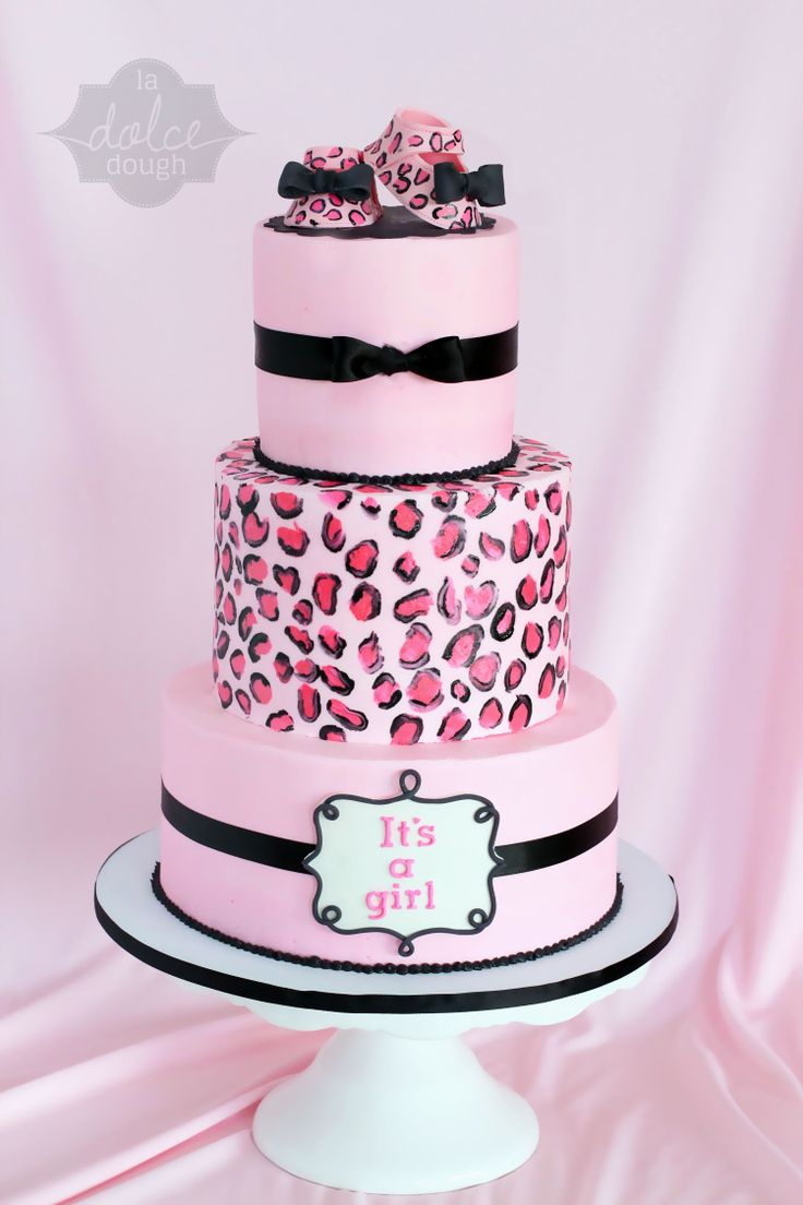 Leopard - Cheetah Baby Shower Cake with booties. La Dolce Dough - Sylvania, Ohio