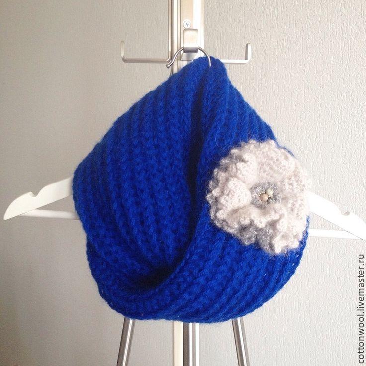 """Купить Весенний снуд """"Синева"""" - синий, однотонный, снуд, шарф, снуд вязаный, снуд женский"""