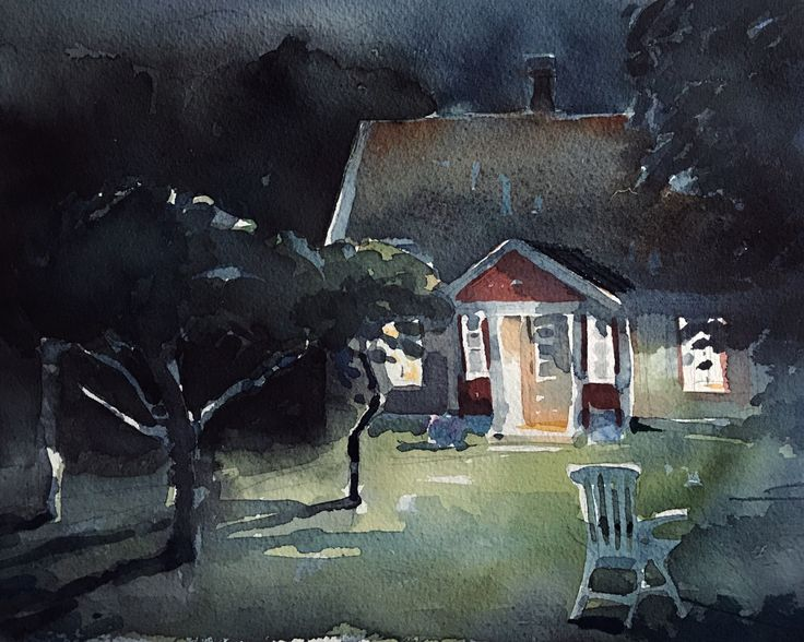 The summer house, watercolor by Magnus Petersson, 2017.