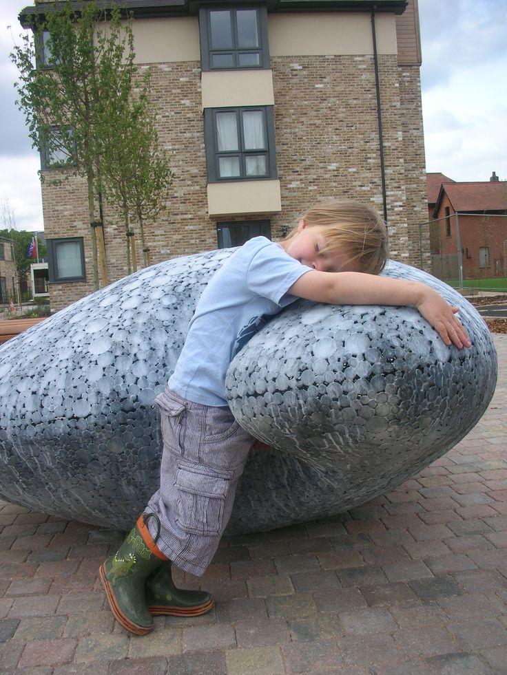 giant seed sculpture, in galvanised steel by Matthew Sanderson.