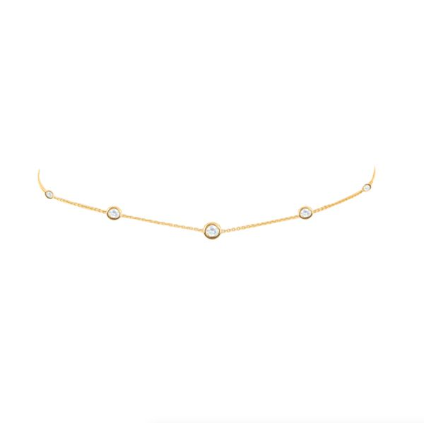 Custom Name Necklace | 5 or 7 Diamond Orbit Bezel Choker - Logan Hollowell Jewelry