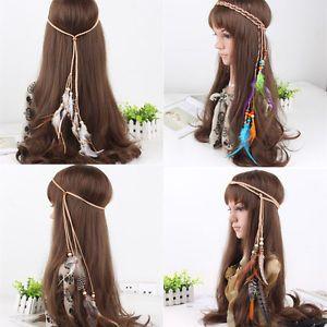 Boho Indian Feather Headband Headdress Tribal Hair Rope Headpieces Hippie Party