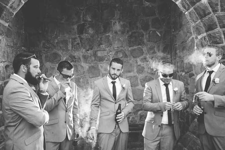 The traditional after ceremony cigar! /  Groomsmen / Wedding Photos
